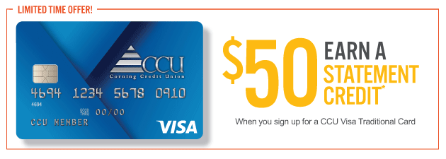 CCU Visa Traditional Promo Earn 50 dollar credit